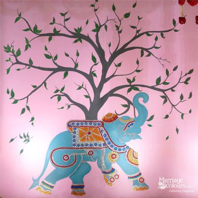 Lakshmi Kalyanam art theme backdrop fully handmade with flowers and highlighted on both sides with elephants hand painted and decorated with colourful kundan stones  #Ashanakalyanam @sheratonchennai