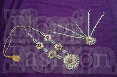 pink gota jewellery mala &Maangtikka
