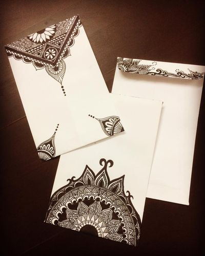 Photo of Black and white mandala wedding card