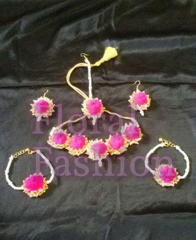 pompom gota jewellery (pink)