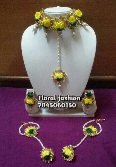 yellow  & green combo gota jewellery