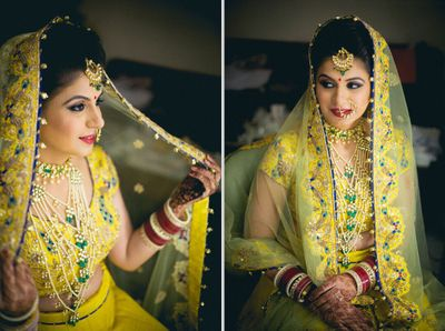 bride in yellow lehanga