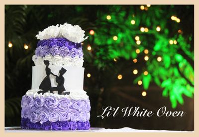Purple Passion Whipped Cream Engagement Cake
