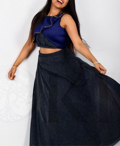 Iridescent Mid-Night Blue Shimmer Skirt and Top Set