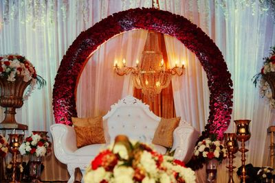 floral ring stage and floral mandap