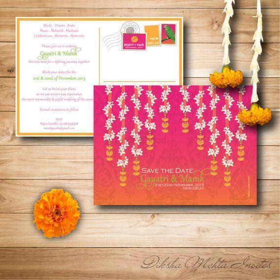 Photo of Pink and Orange Shaded Wedding Cards