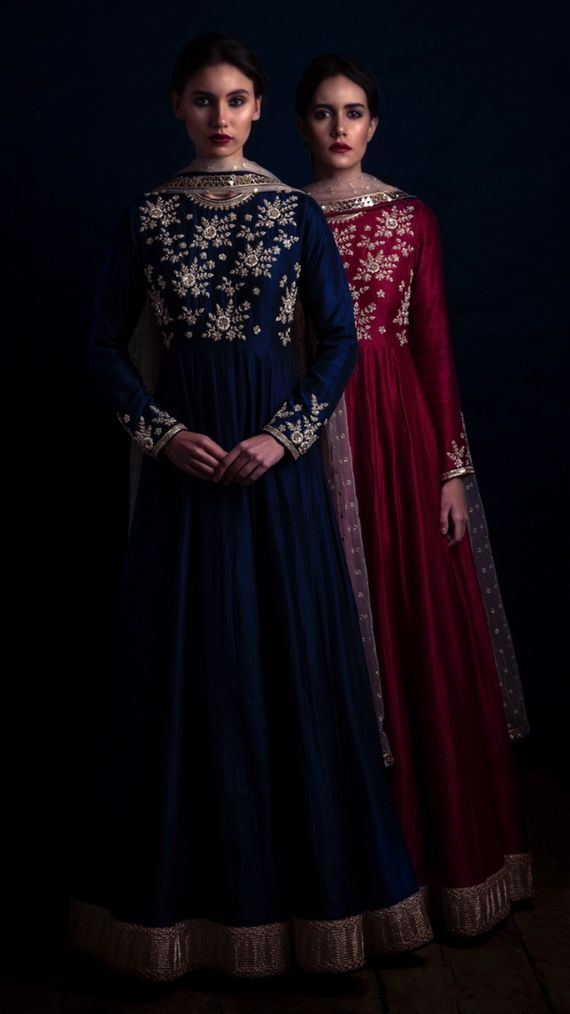 Photo of Royal blue and wine gold embroidered floor length anarkali
