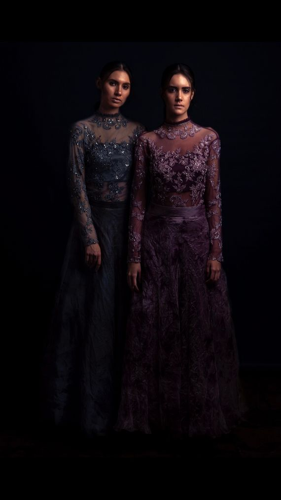Photo of Purple and Royal blue velvet gowns