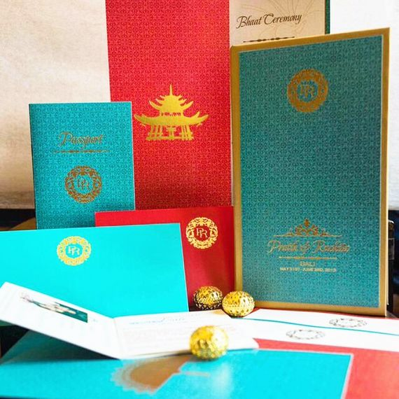 Photo of red and teal invitations
