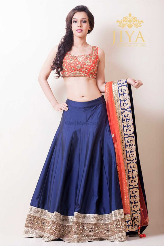 Photo of navy blue raw silk lehenga