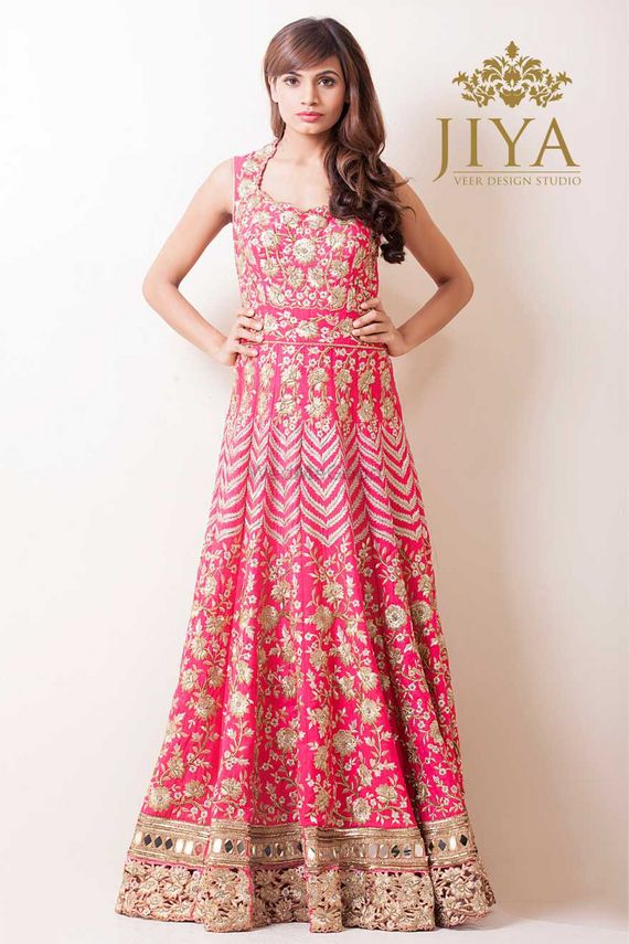 Photo of floor length gown bright piunk