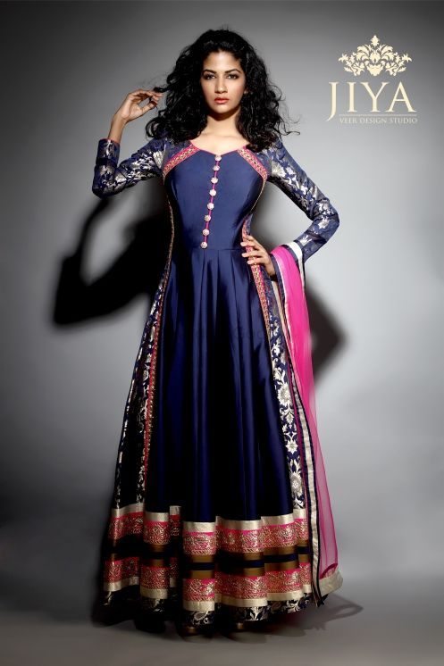 Photo of navy blue and pink anarkali