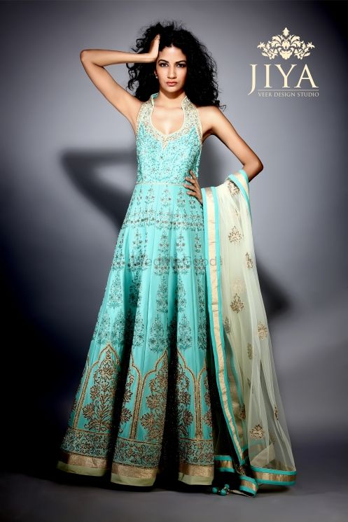 Photo of sea blue anarkali