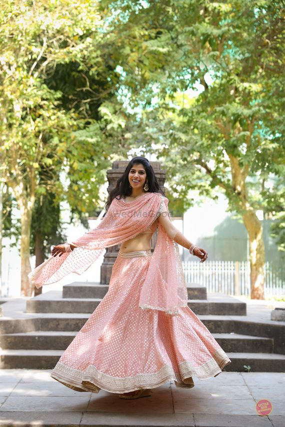 Photo of Blush Pink Light Lehenga with Silver Sequin Work