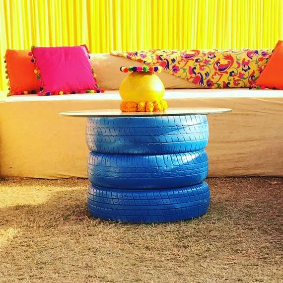 Photo of Blue painted tyres in decor