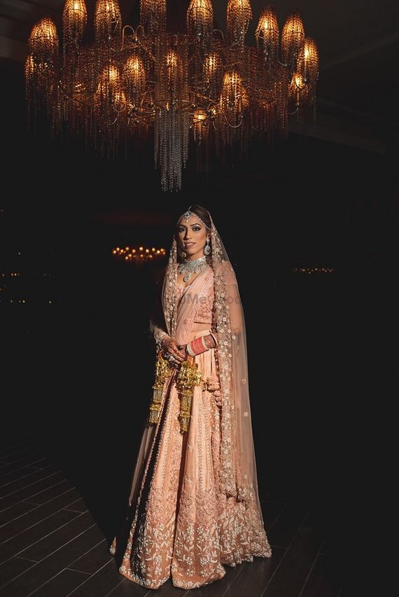 Photo of Pastel bridal lehenga in light peach