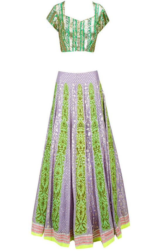 Photo of lavender and lime green lehenga with gota work short sleeves blouse and deep sweetheart neckline . Georgette lehenga with lavender thin panels box pleat lehenga