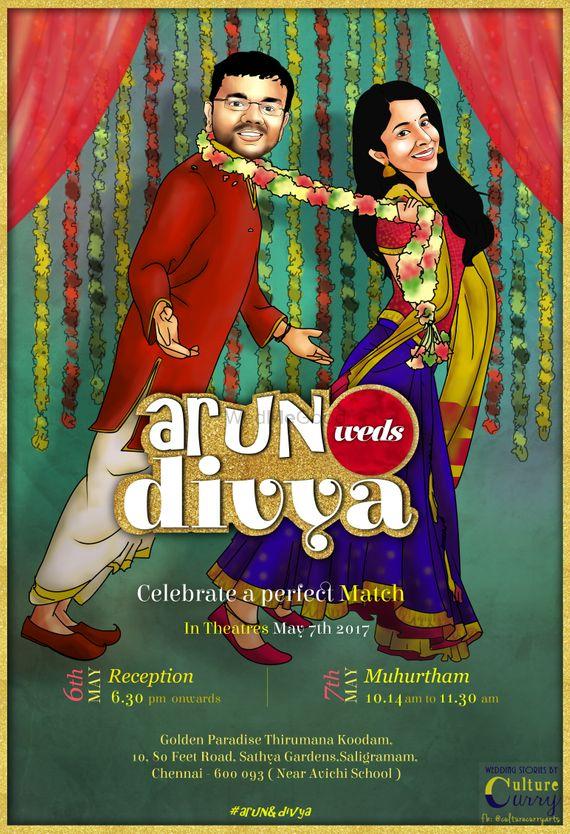 Photo of Caricature Bollywood theme wedding card