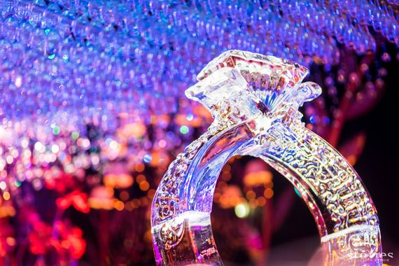 Photo of Ring ice sculpture for wedding