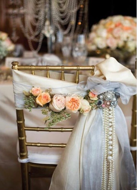 Photo of Floral chair back with pearls