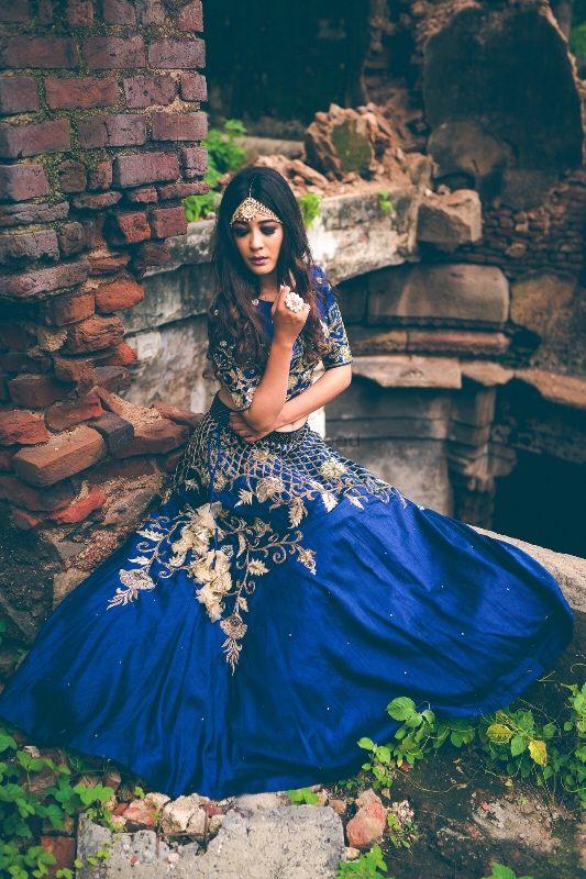 Photo of Royal blue floral embroidery lehenga