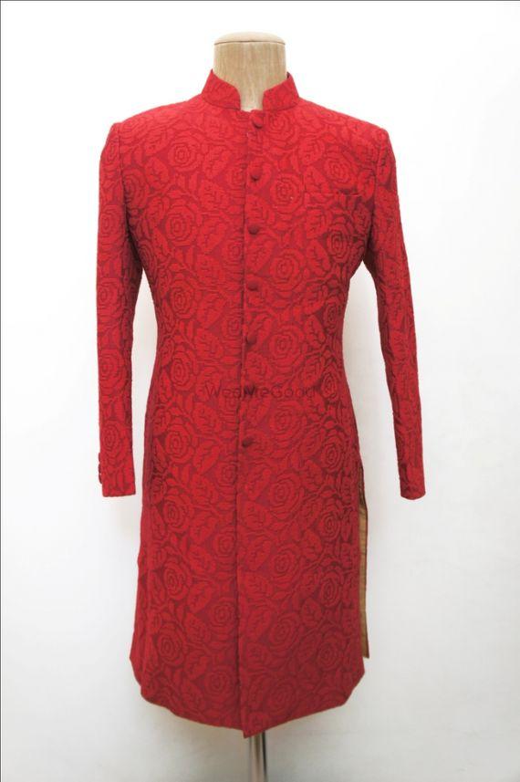 Photo of red self embroidered sherwani full sleeves