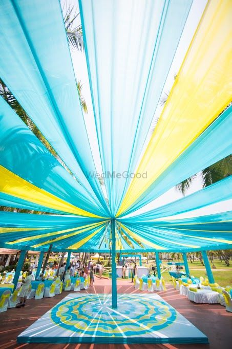 Photo of light blue and yellow decor
