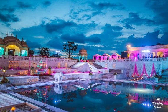 Photo of Palace Wedding Venue with Poolside Decor in Pink