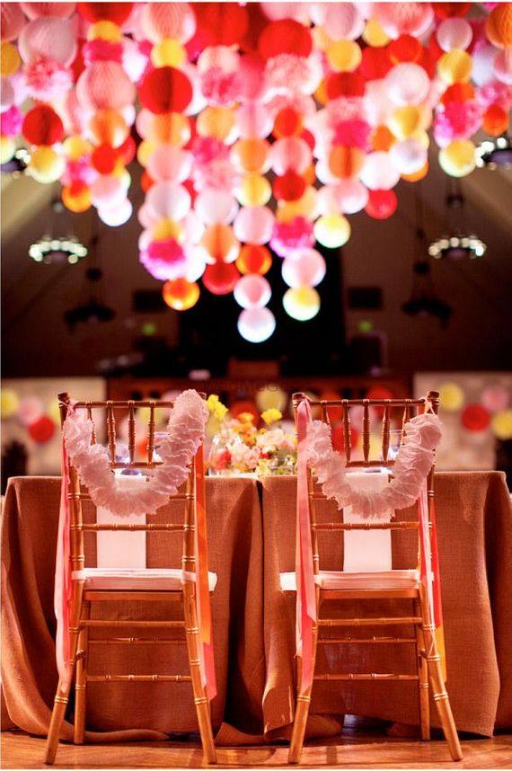 Photo of Paper Props for Ceiling and Chair Decoration