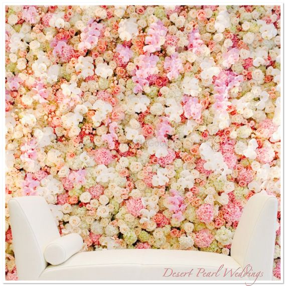 Photo of Pastel flower wall for engagement