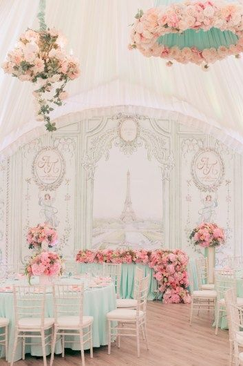 Photo of Parisian engagement decor in light pink and white