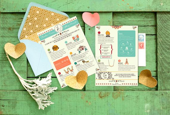 Photo of Fun and colorful wedding invitation card