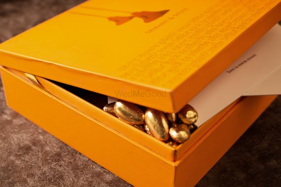 Photo of Yellow wooden box invite