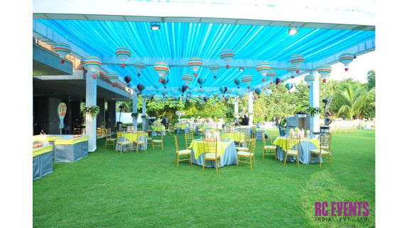 Photo of blue and yellow theme decor