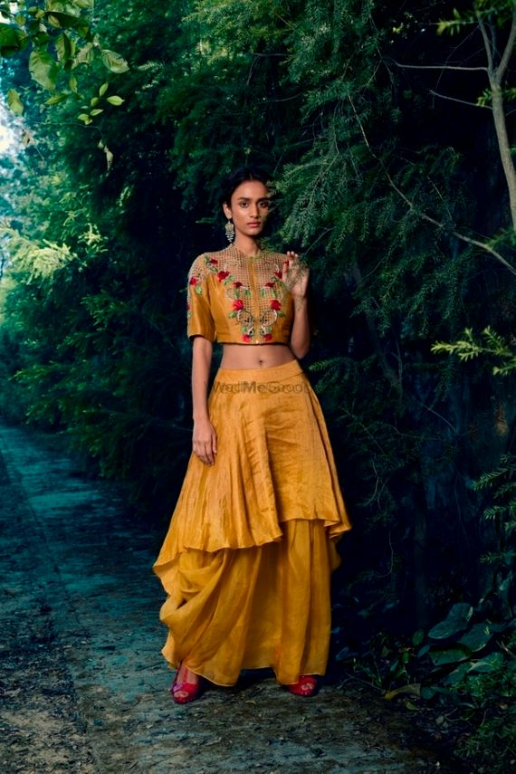 Photo of Unique marigold outfit for mehendi or sister of the bride