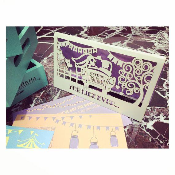 Photo of purple wedding card