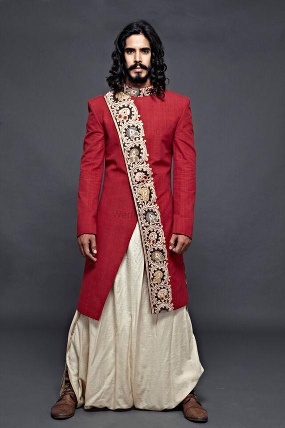 Photo of Red Asymmetric Sherwani with Dhoti