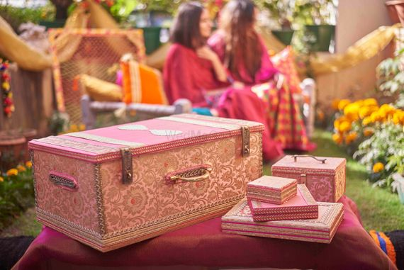 Photo of Bridal trousseau trunk and set in pink