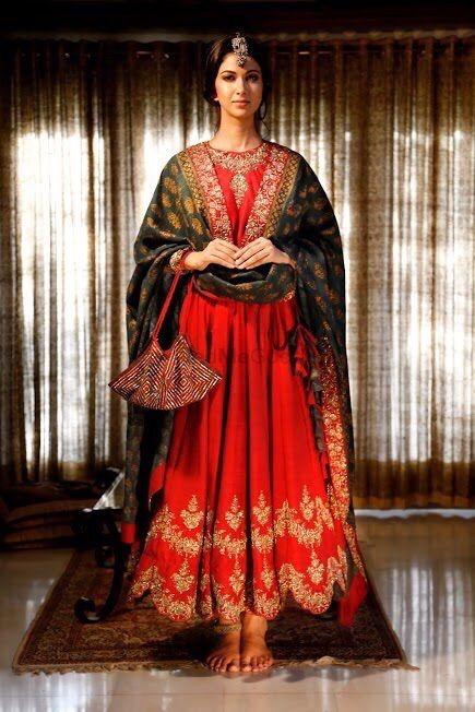 Photo of deep red anarkali with gold work