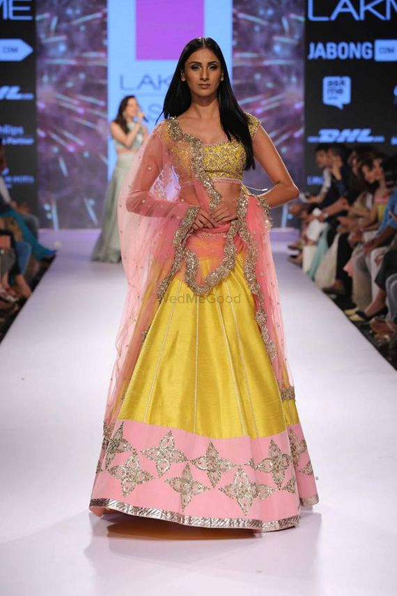 Photo of yellow raw silk lehenga
