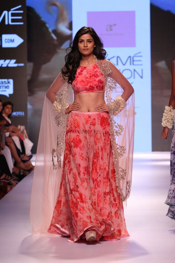 Photo of coral floral print lehenga by Anushree Reddy