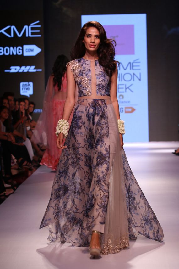Photo of blue printed floor length silhouette