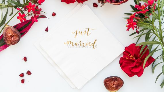 Photo of Customised napkins with just married