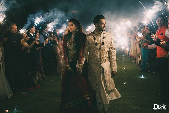 Photo of bride and groom entry