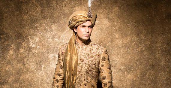 Photo of Gold embroidered sherwani with beige safa
