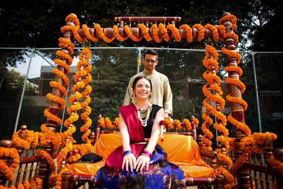 Photo of Bride on mehendi swing