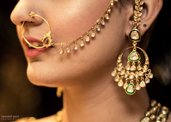 Photo of Bridal earrings and Nath with Kundan work