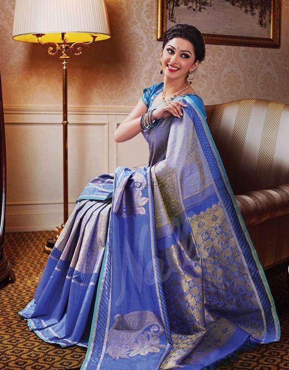 Photo of blue kanjivaram sari