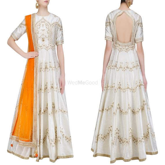 Photo of white and gold anarkali with double shaded orange color dupatta