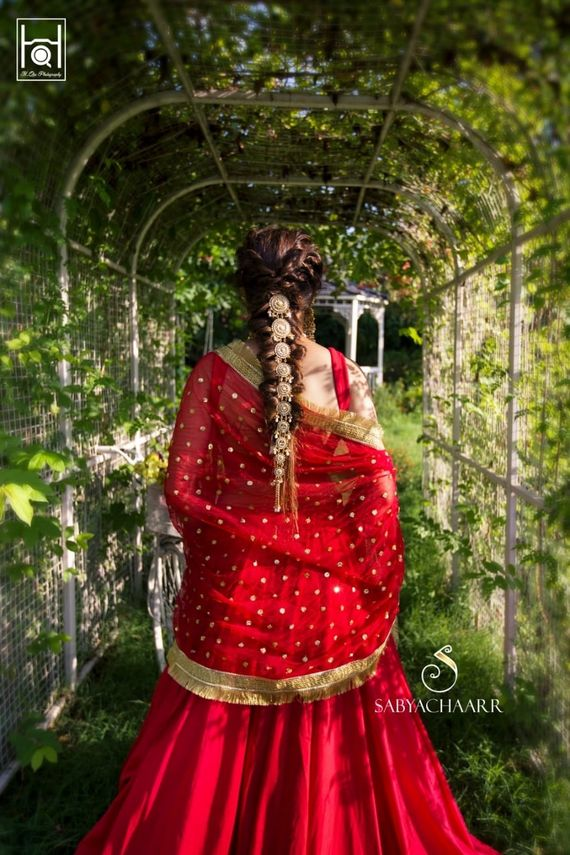 Photo of Bridal braid with hair jewellery
